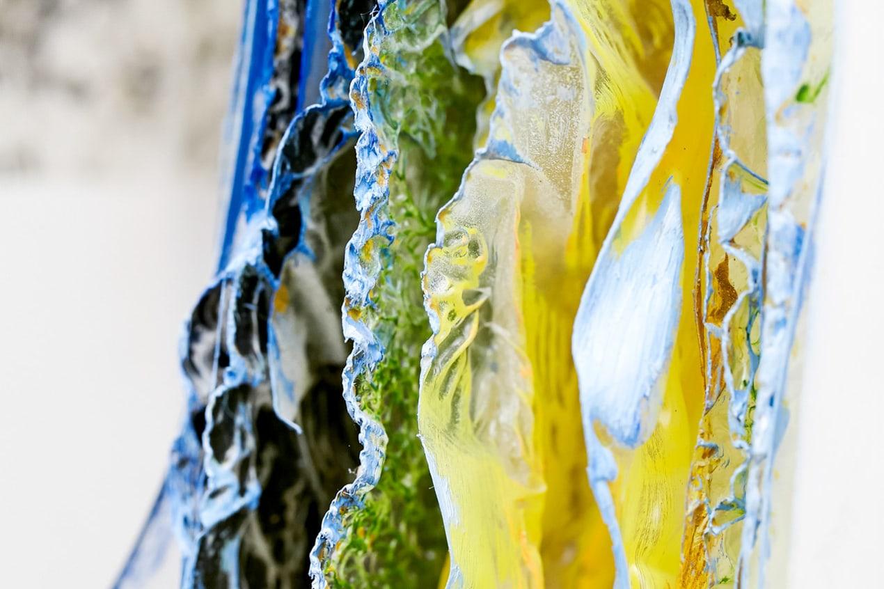 gelbe blaue Struktur Kunst Kultur Dekoration, Wand- Pressefrauen Frankfurt schreiben und texten für PR